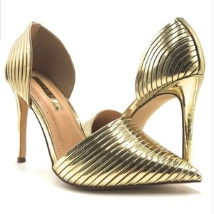 Gold Pointed Toe Heel Stiletto US 8.5